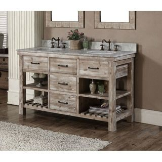 Rustic Bathroom Double Vanity infurniture rustic style 60-inch double sink bathroom vanity and