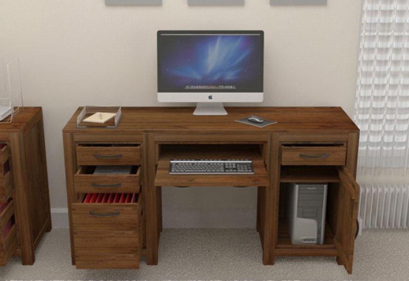 Timber Desks For The Home Dark Wood Computer Desks