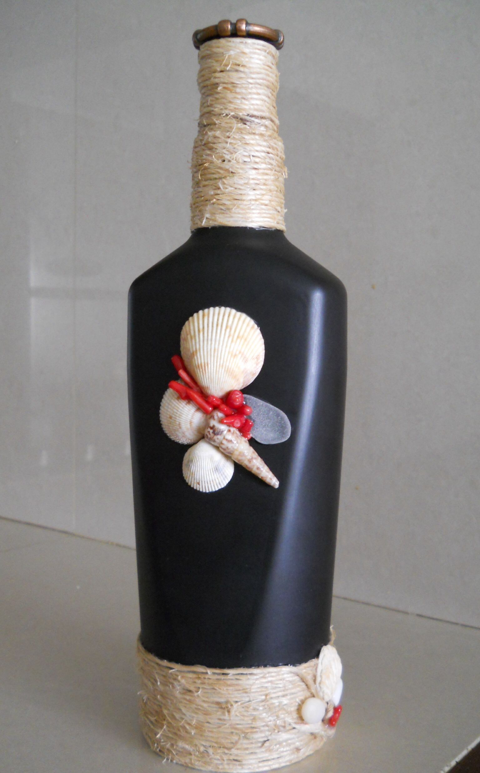 Botellas Decoradas Mecatillo, Conchas, Caracoles Y Coral - Bottles -