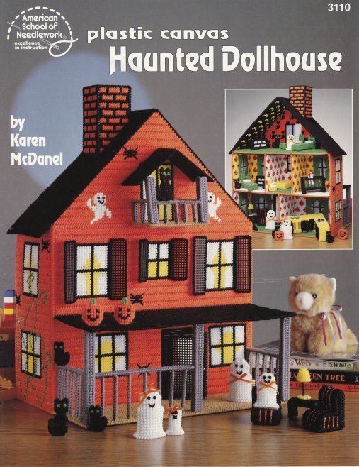 Haunted Dollhouse ~ Plastic Canvas. This dollhouse has 6 rooms and porch. Includes a living room, kitchen, nursery, bathroom, bedroom and an attic. It is all finished off by a covered porch. Dollhouse Accessories. #haunteddollhouse