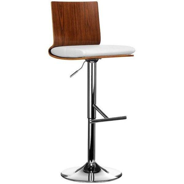 Stokey Walnut Back Bar Stool - White ($235) ❤ liked on Polyvore featuring home, furniture, stools, barstools, adjustable stool, walnut furniture, adjustable bar stools, walnut stool and walnut barstool