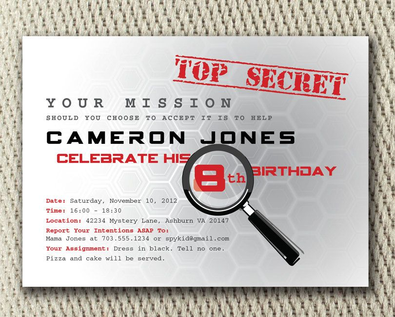 Popular items for digital party invite on Etsy – Spy Party Invitation