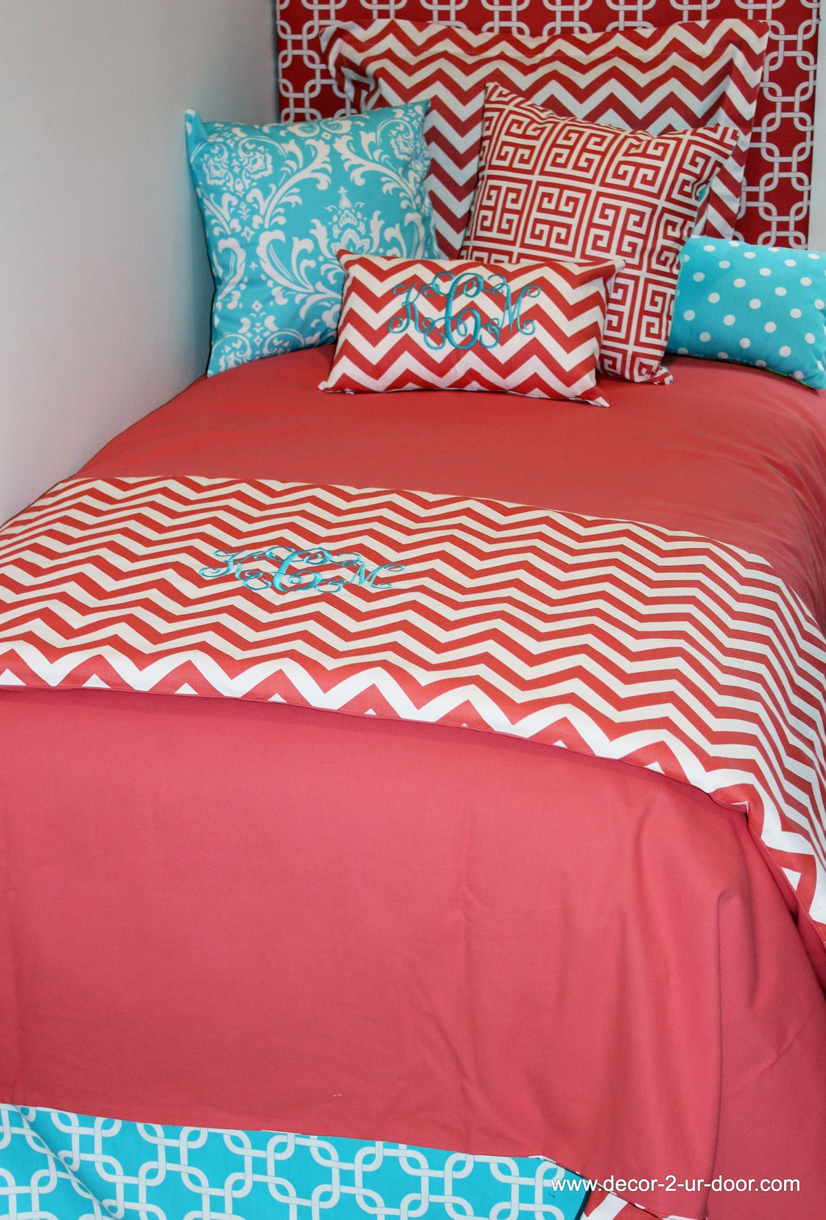 Custom Coral Duvet with Aqua Accents Design Ur Own Dorm Decor Dorm