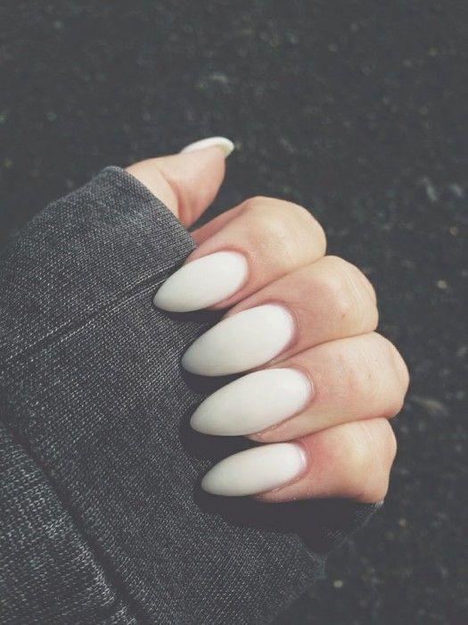 Matte white almond nails | Nails | Pinterest | White almond nails ...