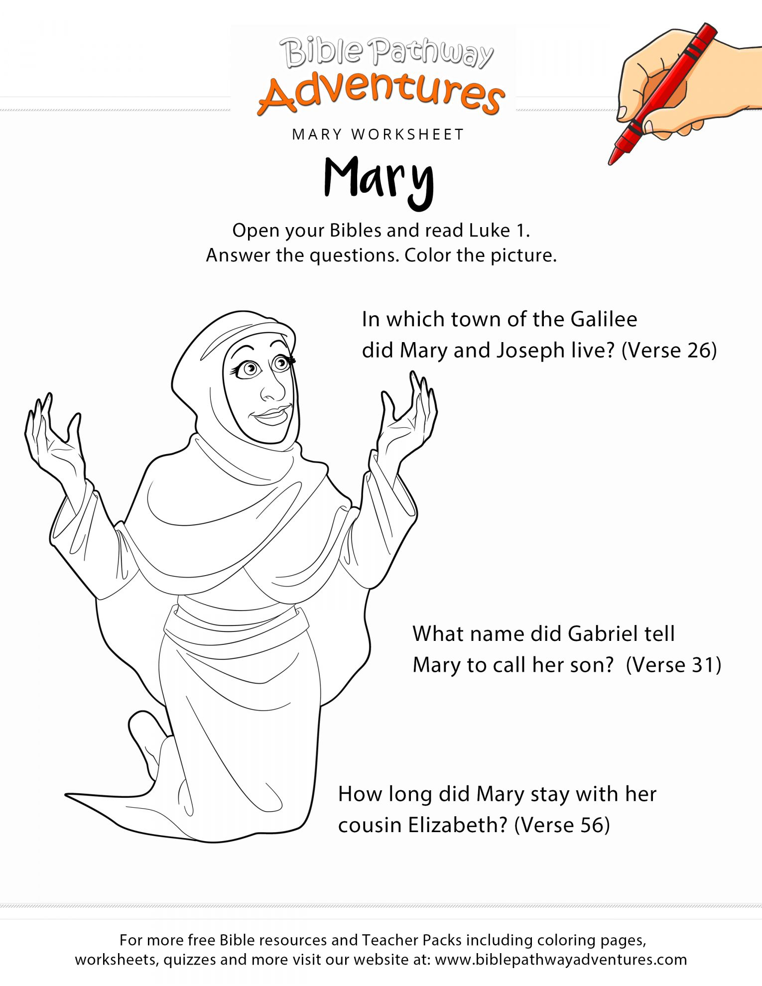 10 Mary And Elizabeth Preschool Worksheet