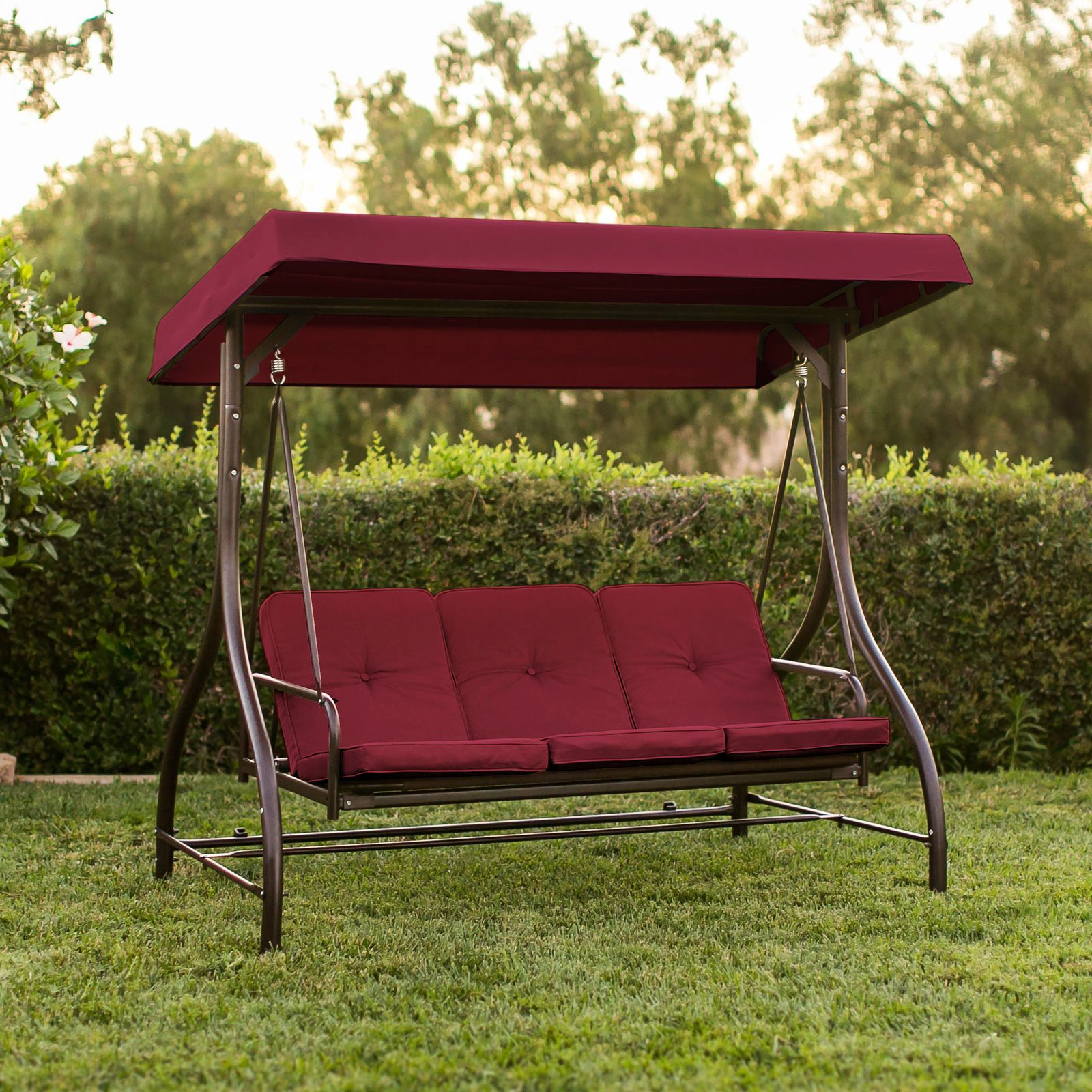 Icymi Outdoor Patio Canopy Swing Chair Metal Frame 3 Person Hammock