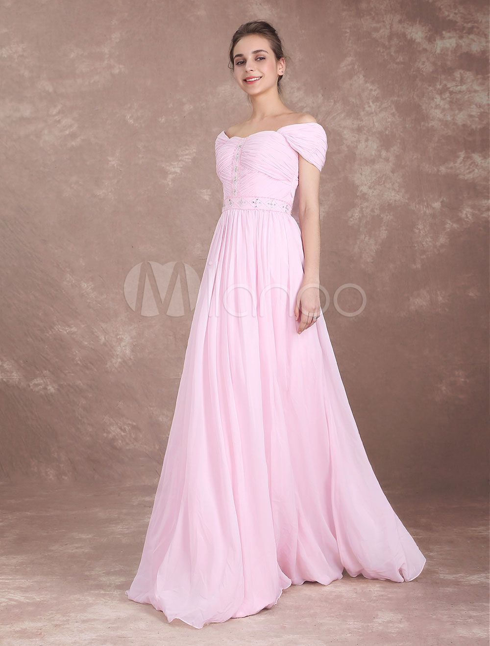 b395d0cf0293 Bridesmaid Dress Soft Pink Chiffon Long Prom Dresses Off The Shoulder  Beaded Pleated Floor Length Wedding Party Dresses