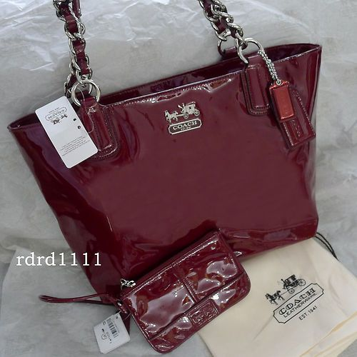 c5af7eb33f New coach chelsea wine red patent leather ew tote bag purse+wristlet ...
