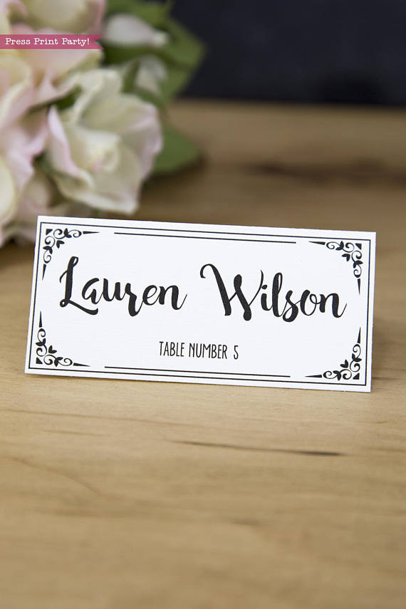 Wedding Place Cards Printable, w Table Numbers, Wedding Printable