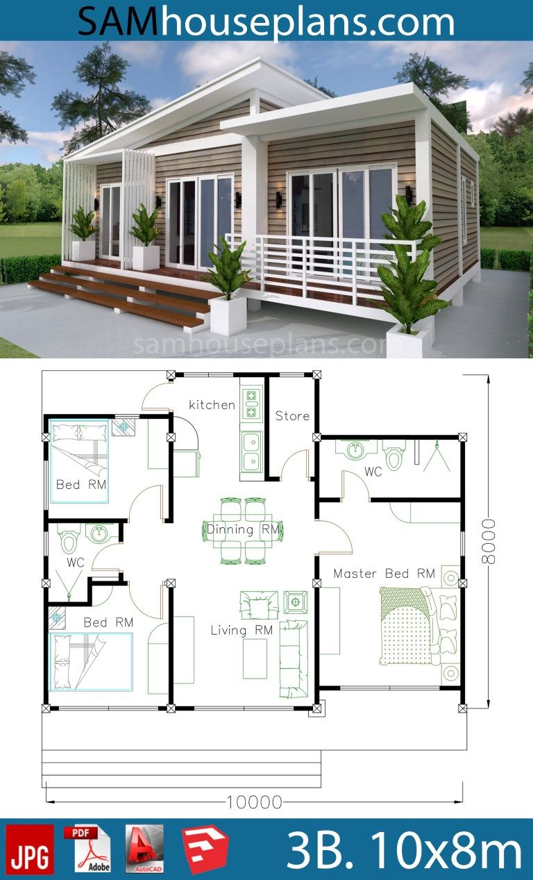 House Plans 10x8m With 3 Bedrooms Sam House Plans Beach House Plans Model House Plan Small House Plans