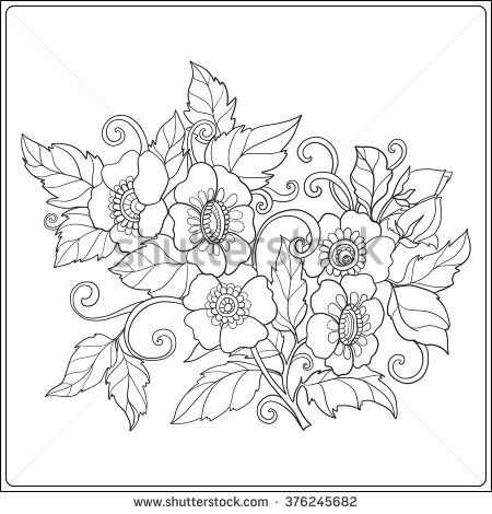 Decorative Vintage Flowers Pattern Good For Coloring Book Adult And Older Children Page Outline Drawing Vector Illustration