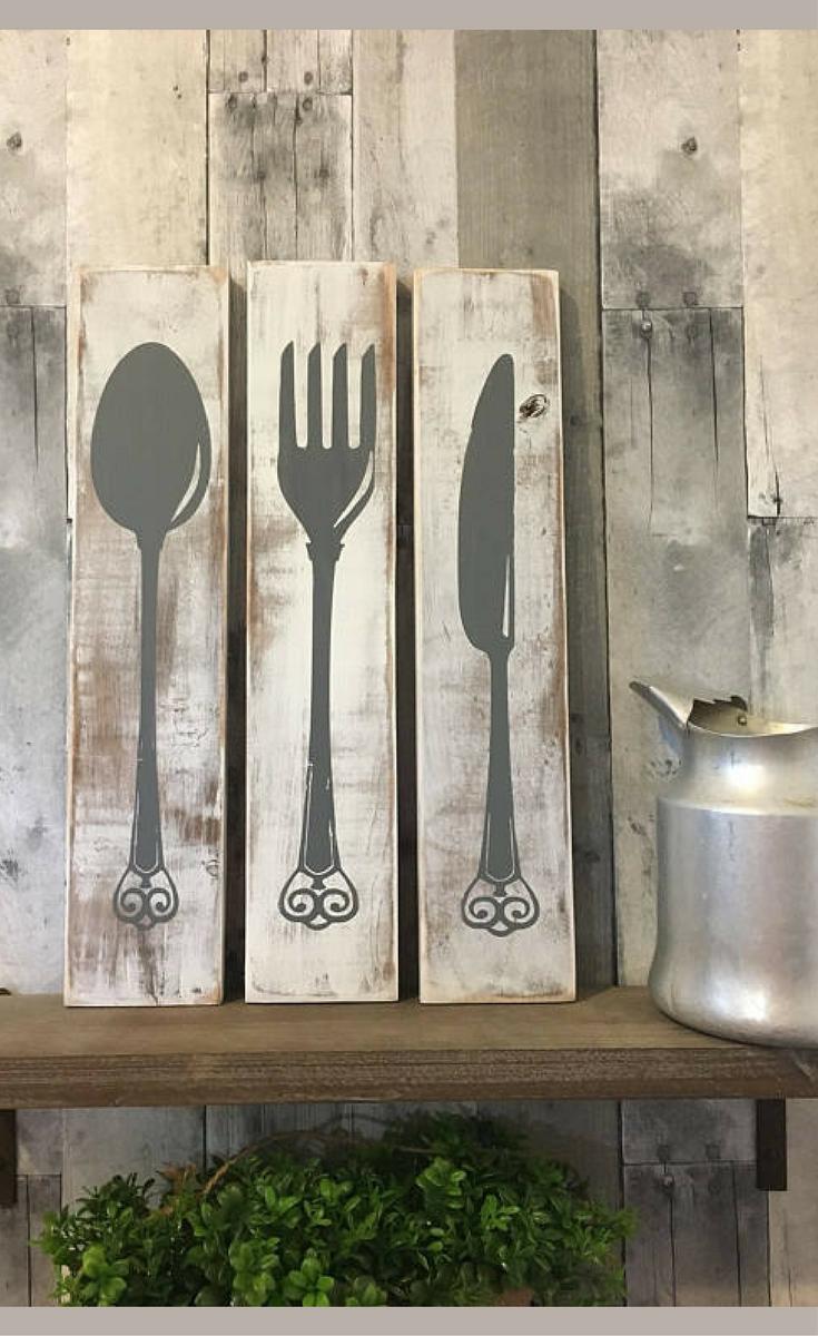 Farmhouse Kitchen Decor Silverware Sign Fork Knife Spoon Farmhouse Dining Room Wood Sign Rust Kitchen Decor Signs Farmhouse Kitchen Decor Diy Kitchen Decor
