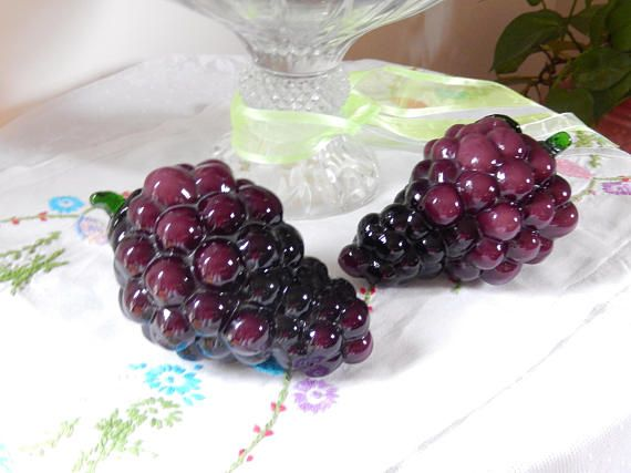 Vintage Glass Grapes Purple Glass Fruit Pair Home Decor Grape Decor Purple Glass Grapes