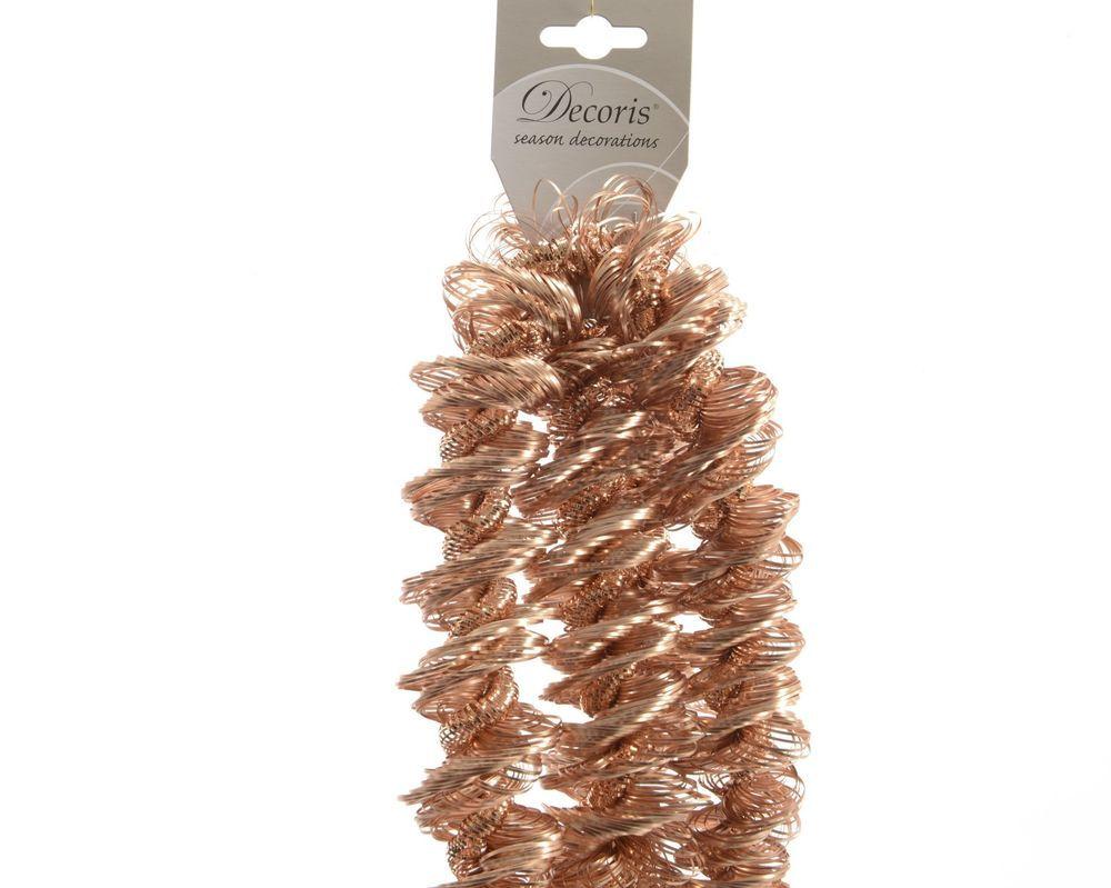 Luxury copper bronze spiral loop christmas tinsel garland tree