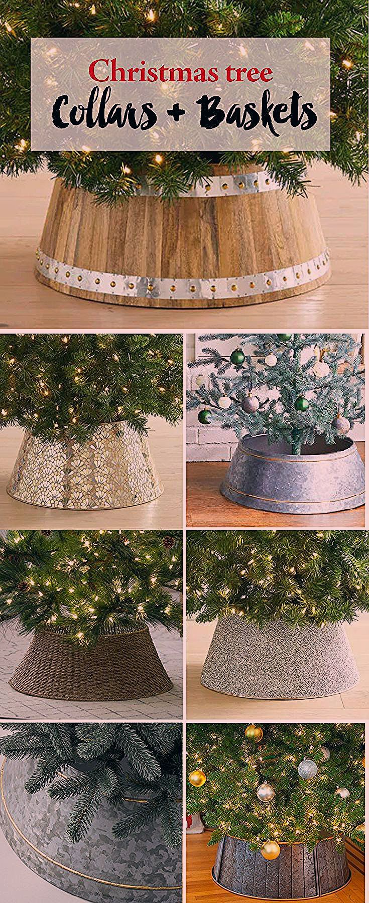 Christmas Tree Collars and Baskets #howtoputribbononachristmastree