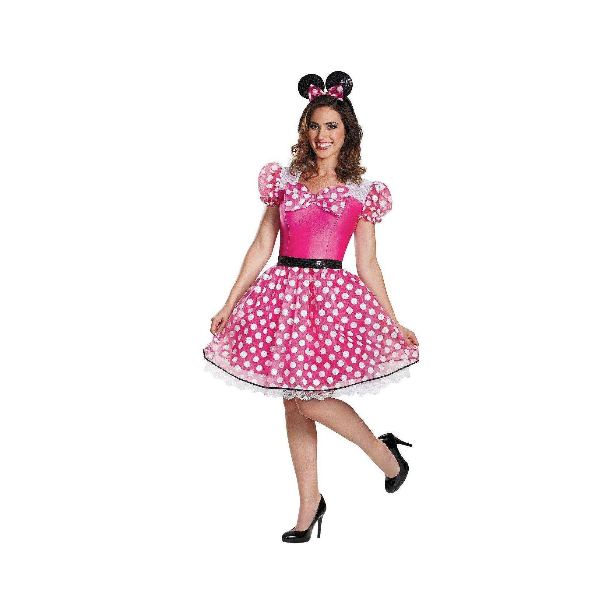 Halloween Minnie Mouse Glam Womens Costume Medium Pink Minnie