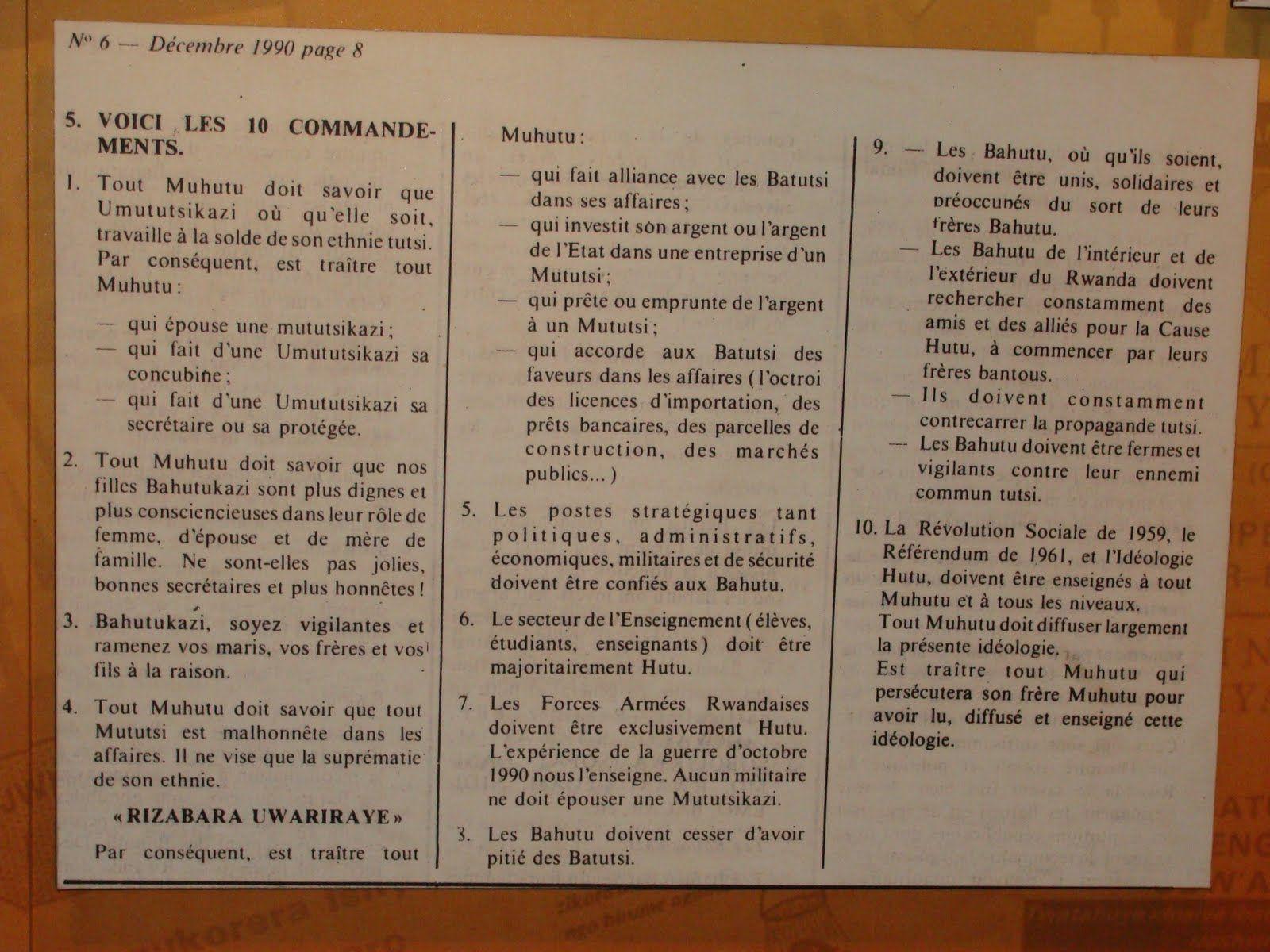 Les 10 commandements du Hutu