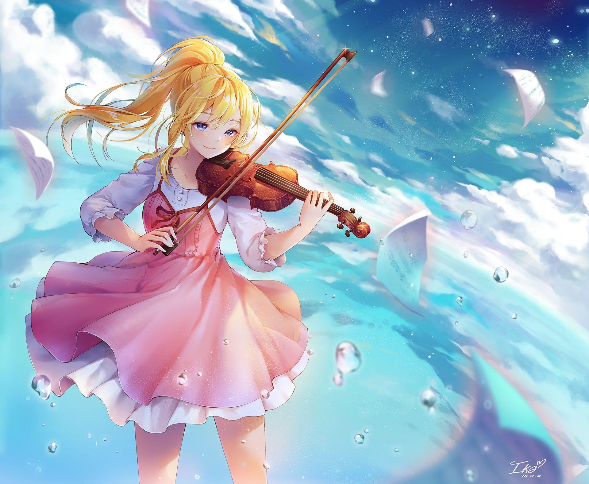 Look Girl Violin Anime Shigatsu Wa Kimi No Uso 1080p Wallpaper Hdwallpaper Desktop In 2020 Your Lie In April Anime Anime Music