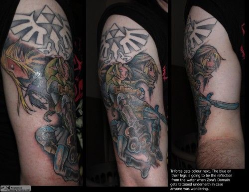 The Legend Of Zelda Half Sleeve Tattoo Triforce Link Zelda Tattoos Sleeve Tattoos Zelda Tattoo