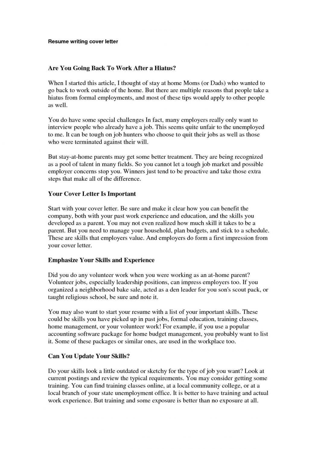 Stay At Home Mom Resume Example Cover Letter Tips Cute766