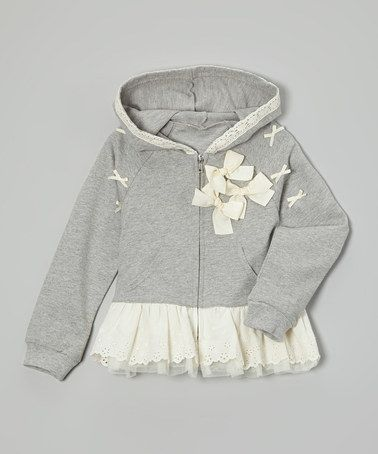 Another great find on #zulily! Gray Bow Skirted Hoodie - Infant, Toddler & Girls #zulilyfinds
