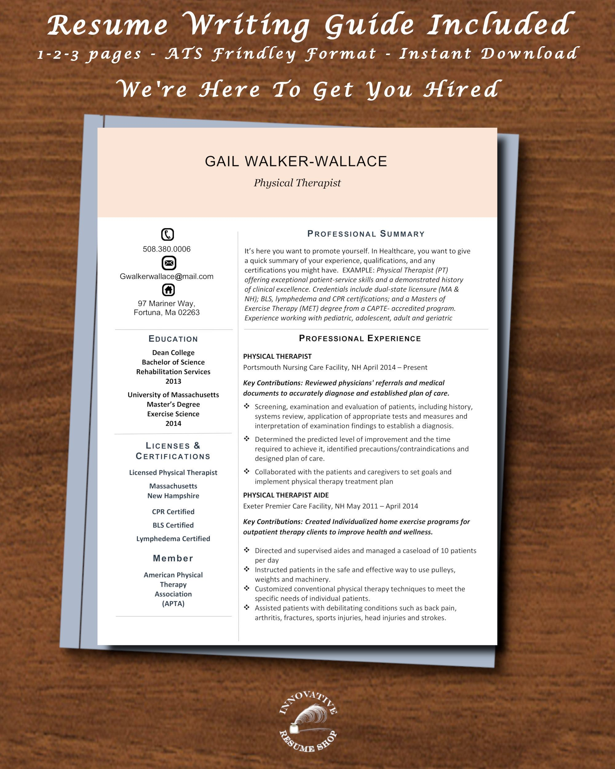 Physical Therapist Physical Therapist Aide Template W Etsy Good Resume Examples Best Resume Format Resume Template Professional