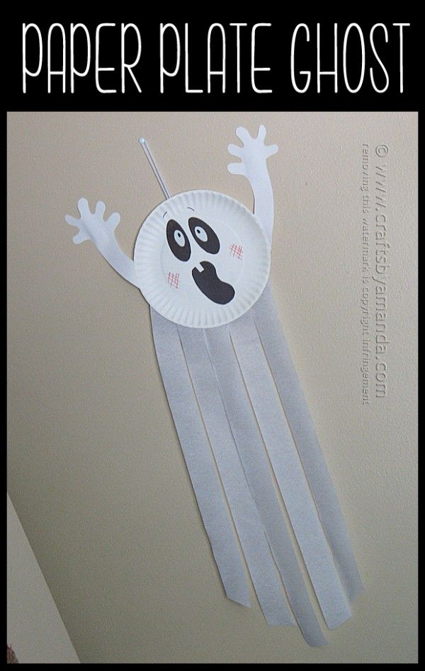Paper plate ghost by amanda formaro of crafts by amanda theme party halloween halloween - Schulprojekte ideen ...