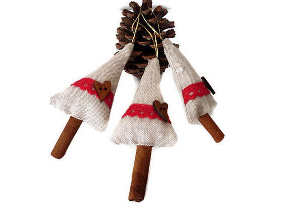 Décoration de Noël à suspendre, décoration de sapin, lot de 2 sapins en lin : Accessoires de maison par driworks