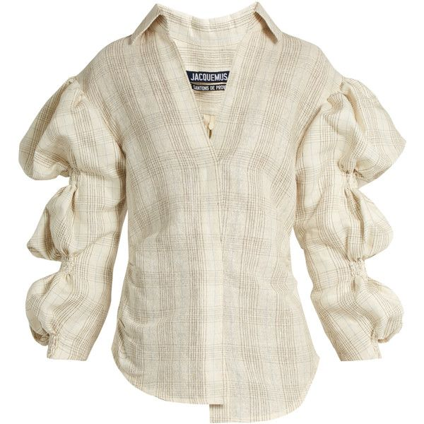 6b6a084dd05bc Jacquemus Puff-sleeved silk-blend shirt ( 374) ❤ liked on Polyvore featuring.  Shoulder ShirtsShoulder ...