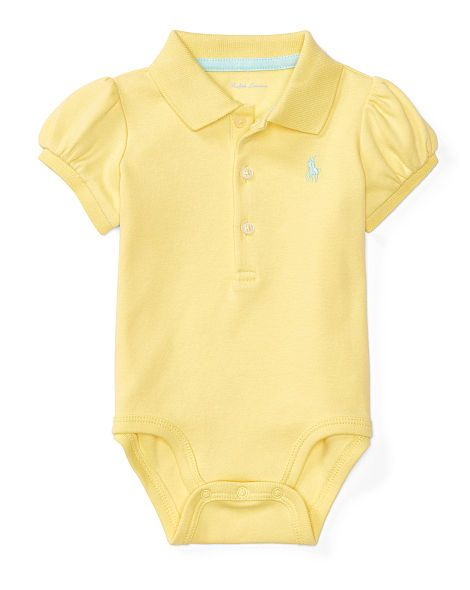 26ffa3423 Puff-Sleeve Polo Bodysuit - Baby Girl Polos, Tops & Bodysuits - RalphLauren .com