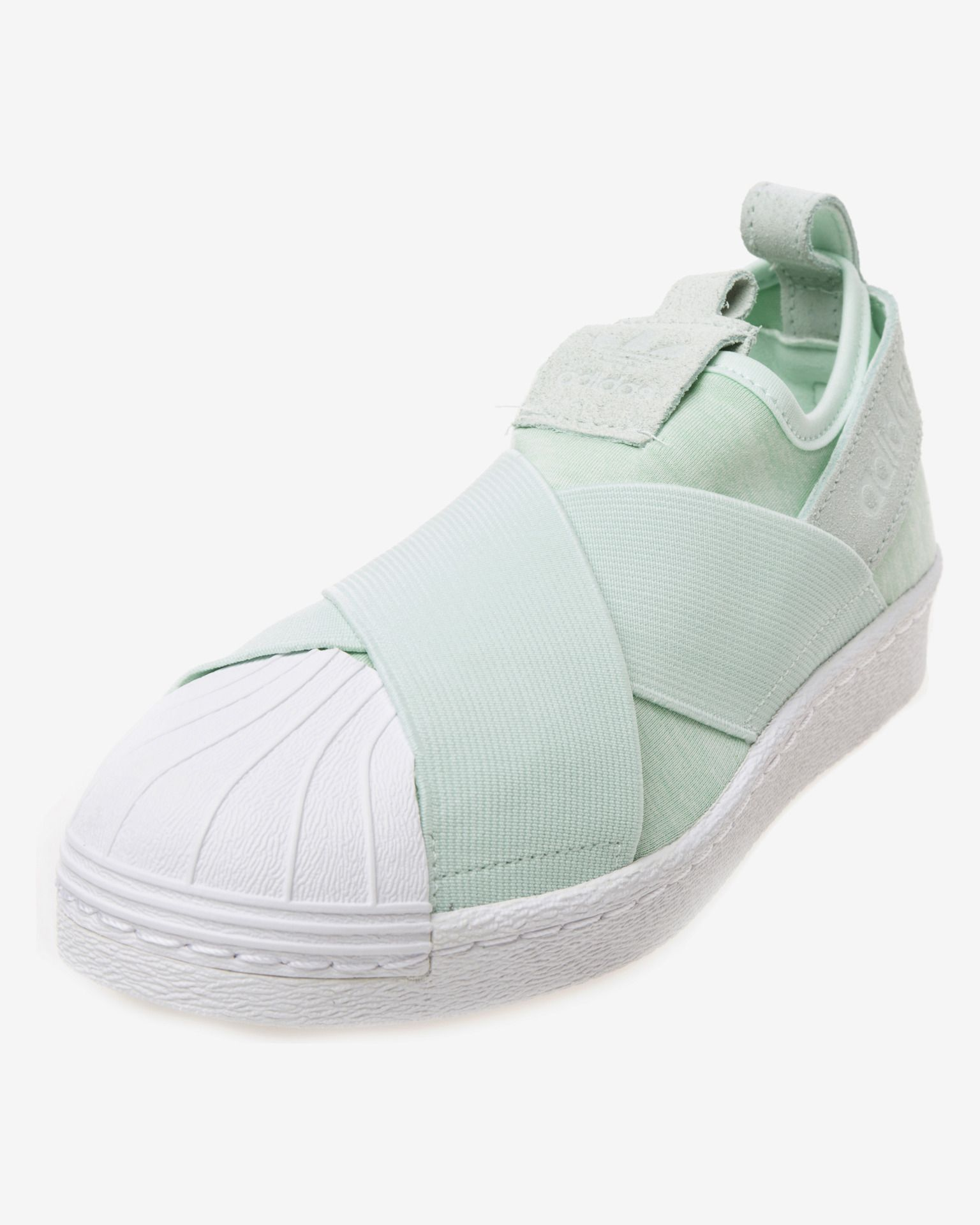 competitive price 35d9b 396f9 Adidas Originals Superstar Slip On With Strap Green White Womens Casual  Shoes