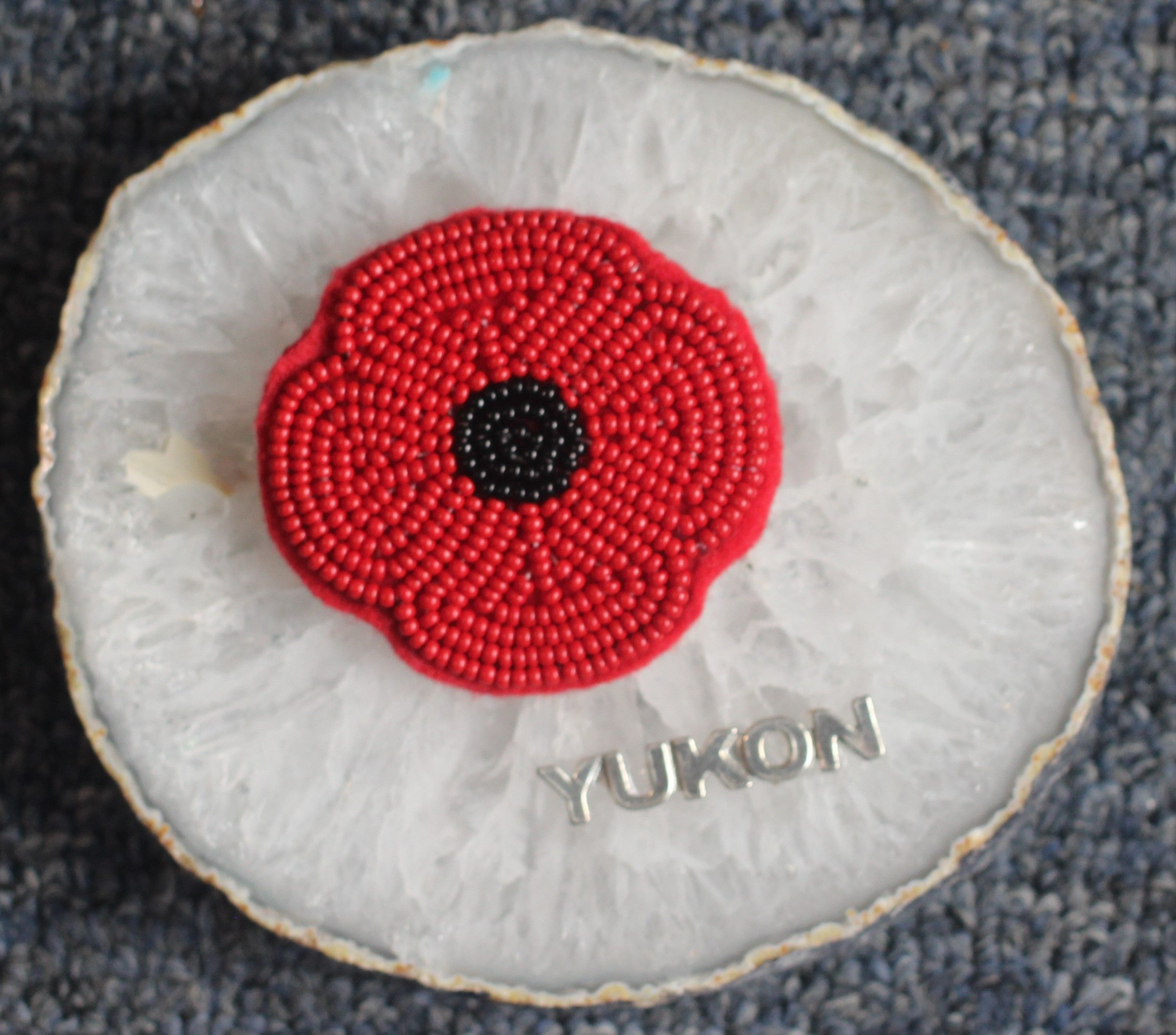 Beaded Poppy made by Suzanne Flumerfelt in Yukon, Canada