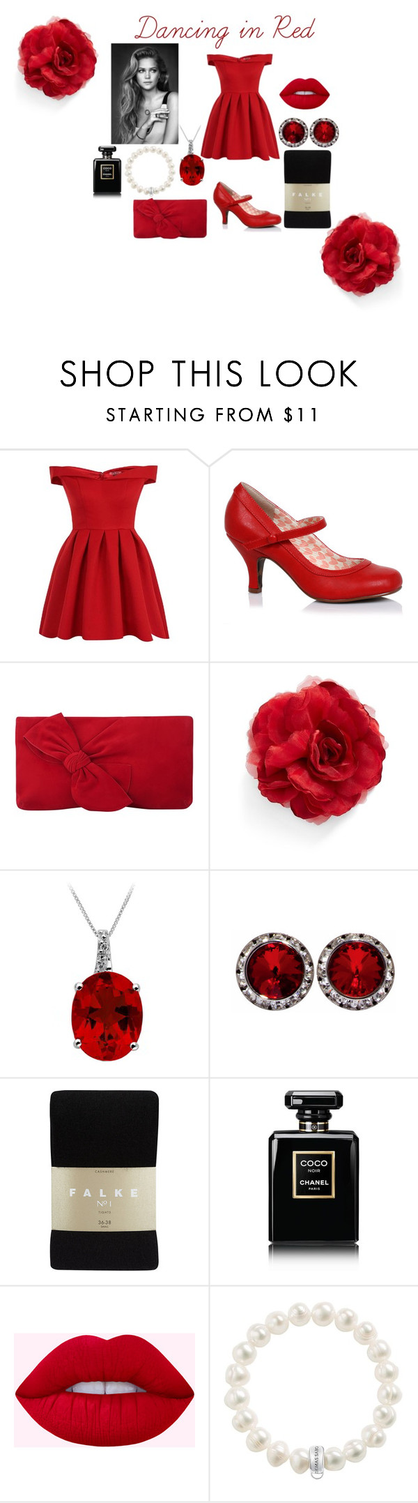 """""""Dancing in Red"""" by malika-qaraqish on Polyvore featuring Chi Chi, L.K.Bennett, Cara, Falke, Chanel and Thomas Sabo"""