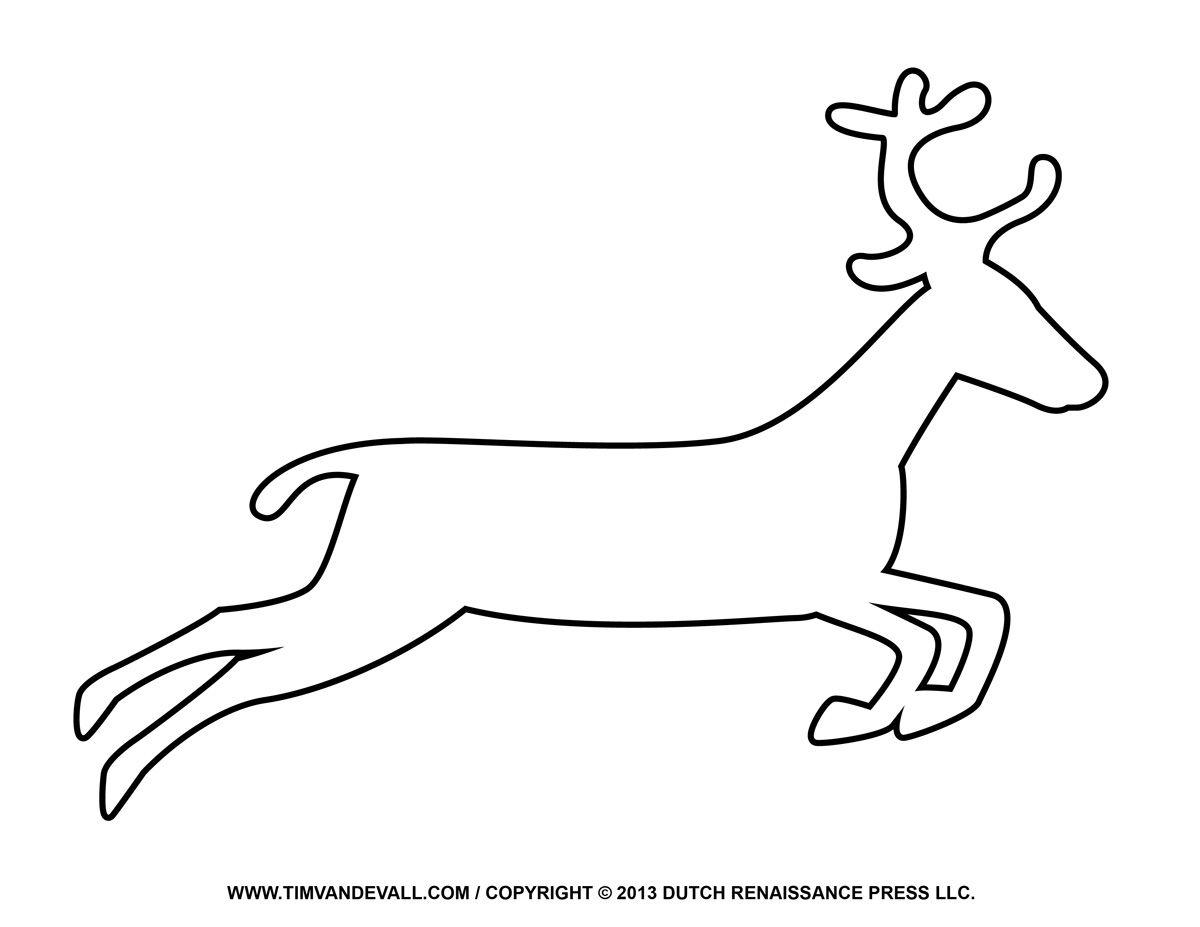 Santa Sleigh Reindeer Silouette Coloring Page