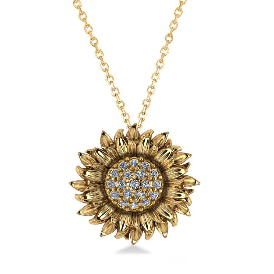 Sunflower Diamond Pendant Necklace 14k Yellow Gold 0 19ct Black Hills Gold Jewelry Pendant Necklace Sunflower Pendant