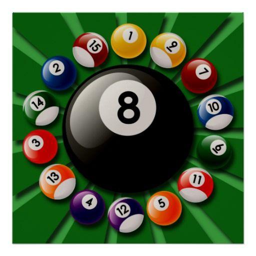 BILLIARDS BALLS POSTER Billiards pool