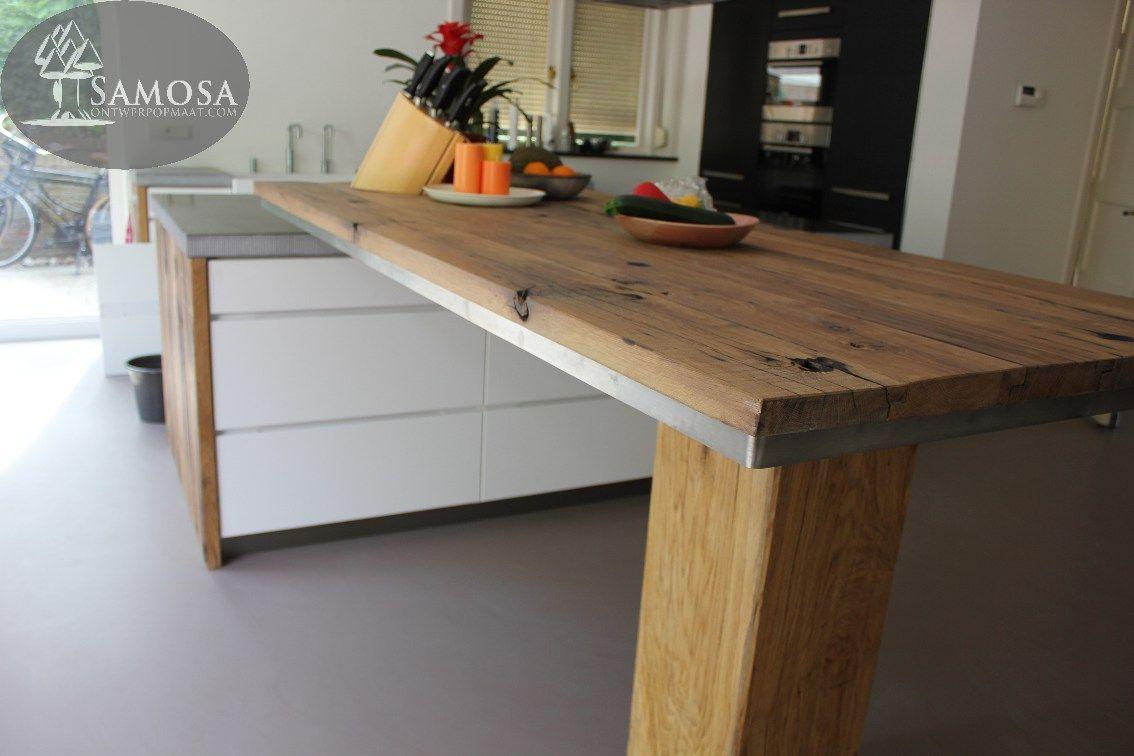 Oud hout keukenbladen samosa ontwerp op maat keuken op maat oud eiken keuken - Keuken ontwerp ideeen ...