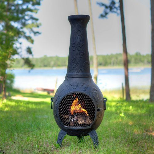 The Blue Rooster Butterfly Chiminea In Charcoal Chiminea Outdoor Fireplace Designs Outdoor Heating
