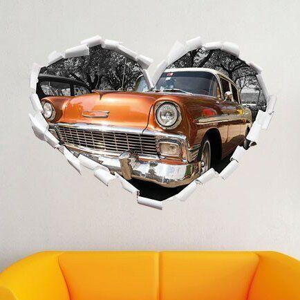 Orange Classic Car Wall Sticker East Urban Home Size: 64.5cm H x 92cm W x 0.02cm…