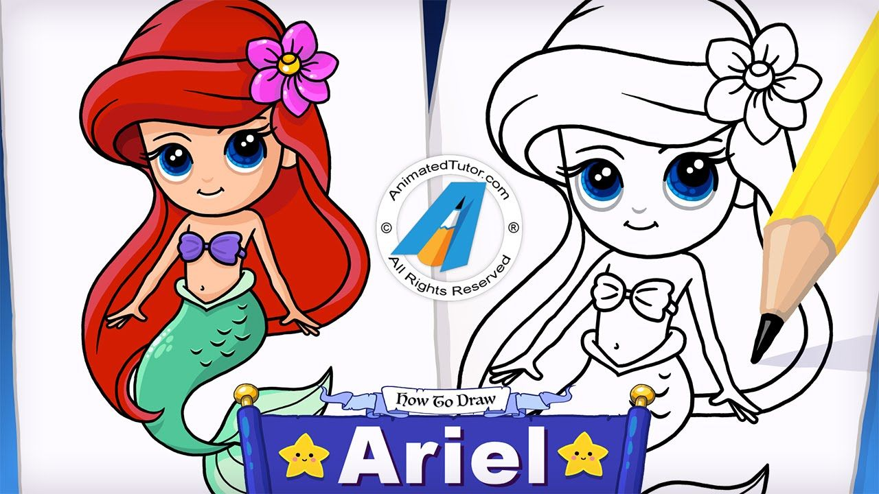 How To Draw A Mermaid Ariel The Little Mermaid Cute And Easy Animatedtutor Com Mermaid Drawings Ariel Cartoon Cartoon Drawings