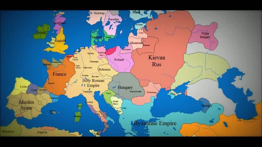 Animated Map of Europe 1000 AD to present day Look at all those - animated maps