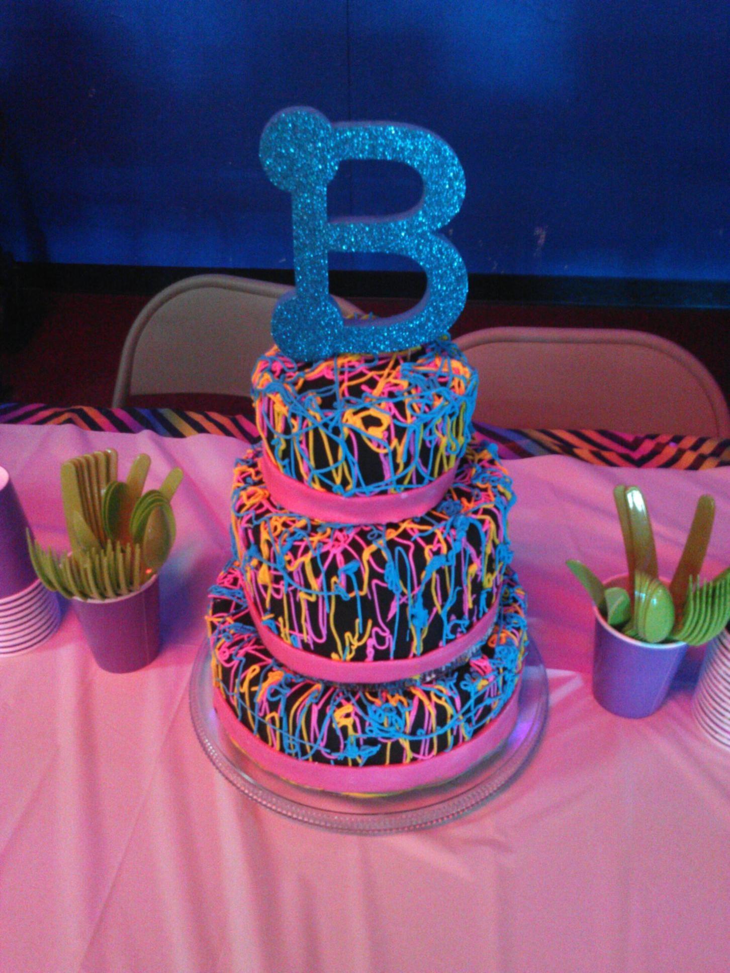 Neon And Black Birthday Cake Cakes By Barbara Pinterest - Birthday cake barbara