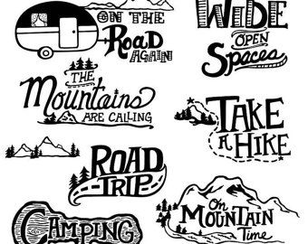 Hand Drawn Mountain Clip Art Black And White Line Outdoor Adventure Pine Tree Cloud Illustration Photoshop Overlays Travel