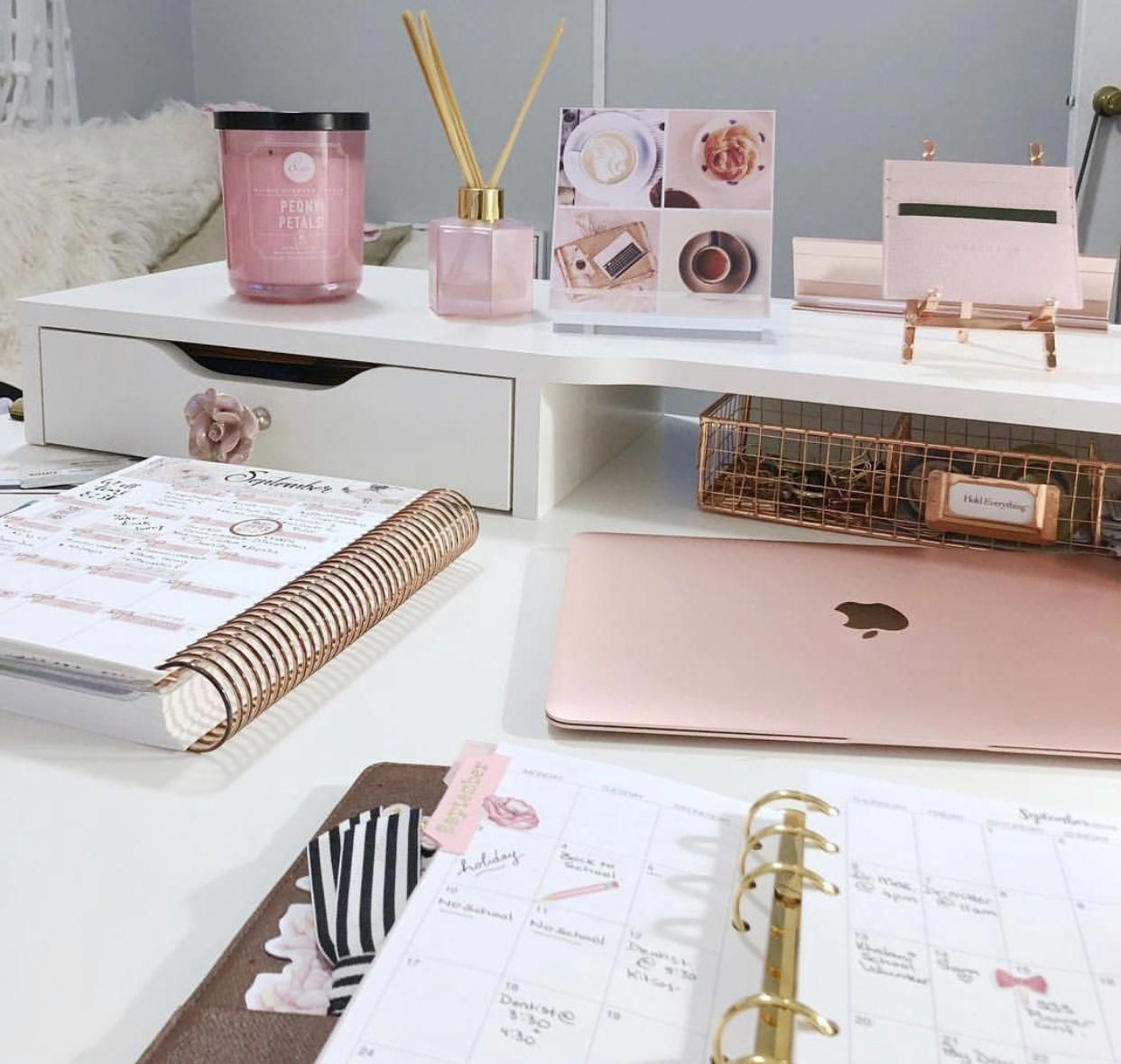 Home Work Office Pink Laptop Pink Office Girly Office