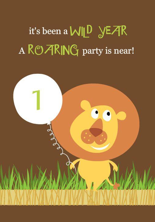Brown Lion Jungle Safari 1st Birthday Invitation By Purpletrail