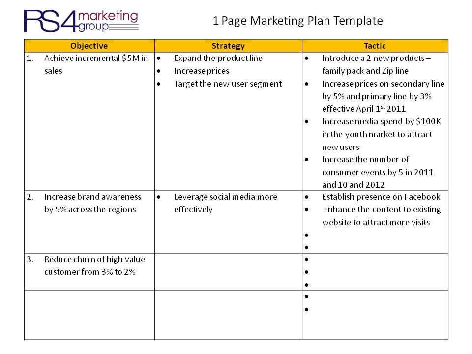 One Page Marketing Plan Rs4 Marketing Plan Template