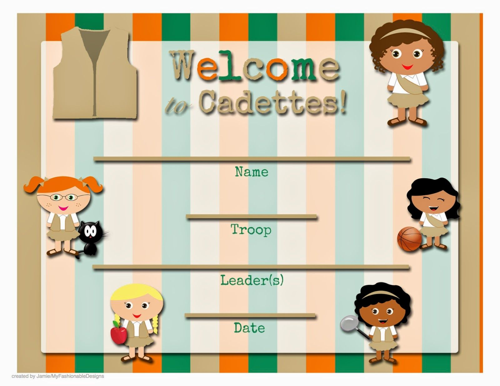 Free Printable Welcome To The Troop Cadettes