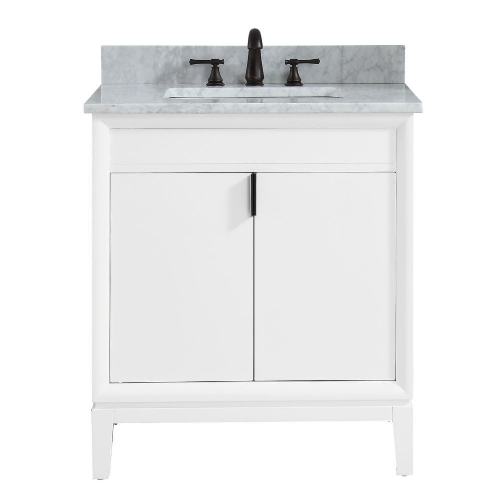 Emma 31 Inch Vanity Combo In White With Carrera White Marble Top