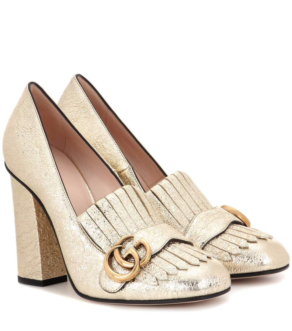 95b3a3898fded GUCCI - Metallic leather loafer pumps - Gucci gives loafer pumps a retro  update with fringed detailing and a tall block heel. The house s iconic  logo in ...