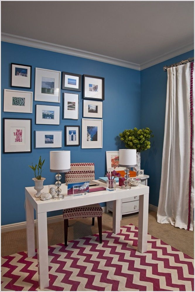 Benjamin Moore Electric Blue Upholstered Desk Chair Chevron Rugs Paint House